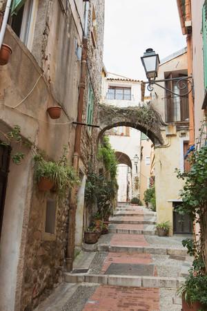 residential area: Steps in alley between buildings, Menton, France LANG_EVOIMAGES