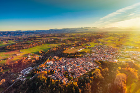 bene: View from hot air balloon of Bene Vagienna, Langhe, Piedmont, Italy