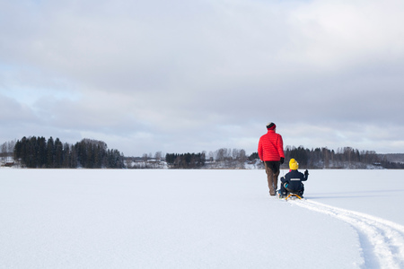 Father pulling sons along on sledge in snow covered landscape, rear view