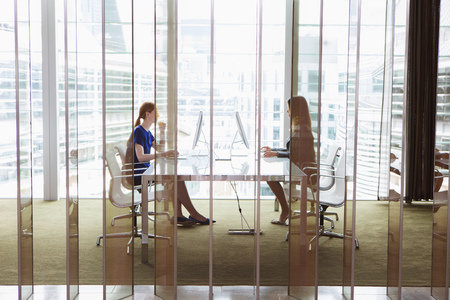 screen partition: Businesswomen working in office,London,UK LANG_EVOIMAGES