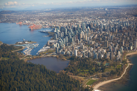 Elevated view of harbour,Vancouver,Canada