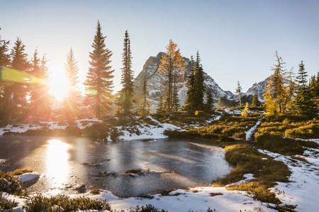 Sunlight through trees by lake,cascade mountain range,Diablo,Washington,USA