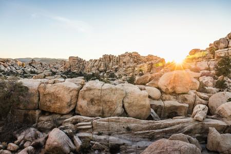 joshua tree national park: Rock formations at sunset in Joshua Tree National Park at dusk,California,USA