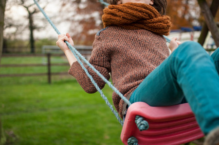 people: Boy on swing,close up