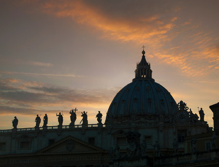 in low spirits: Silhouette of statues on cathedral roof