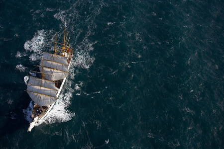 Traditional boat sailing on ocean,German Navy sail boat Gorch Fock in waters close to Reykjavik,Iceland LANG_EVOIMAGES