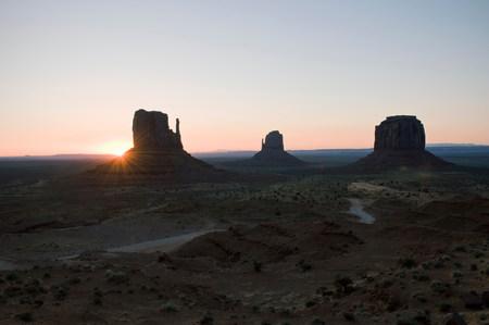 navajo land: Sunset over Monument Valley Navajo Tribal Park,Utah,USA