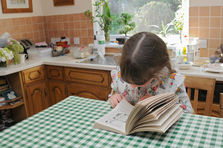 scottish female: Girl reading at kitchen table LANG_EVOIMAGES