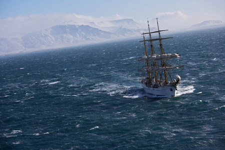 way out: Traditional boat sailing on ocean,German Navy sail boat Gorch Fock in waters close to Reykjavik,Iceland LANG_EVOIMAGES