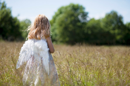 northern light: Girl wearing angel wings in field LANG_EVOIMAGES