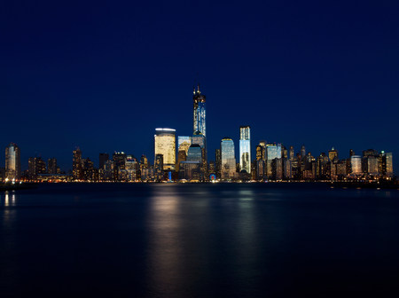 reflective: Skyline of Manhattan (view from Jersey City),New York City,USA