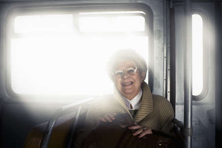 motorcoach: Old woman smiling