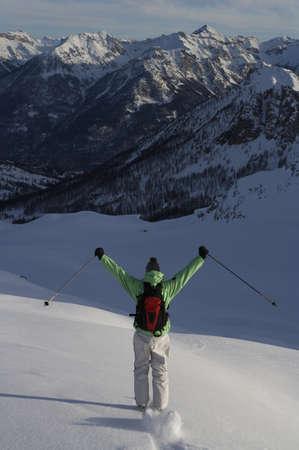 Skier, skiing off piste.