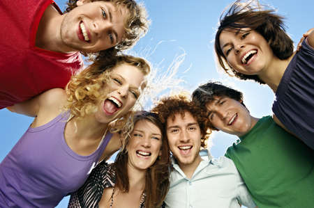 wind blown hair: Portrait of six young happy people
