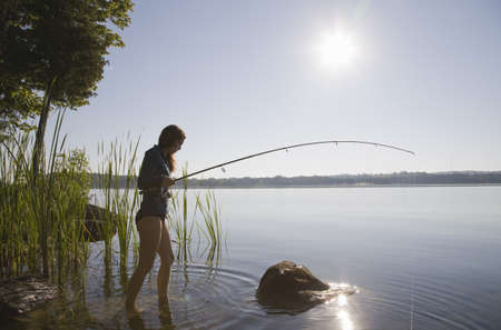 Woman fishing in lake LANG_EVOIMAGES