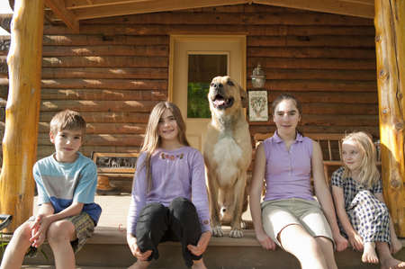 abodes: Portrait of kids and dog at home