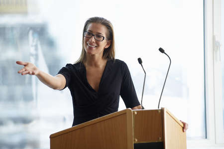 Woman talking during a conference