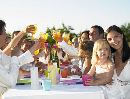 easygoing: People having dinner, outdoors