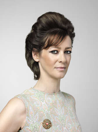 woman in 60s style look with brown hair