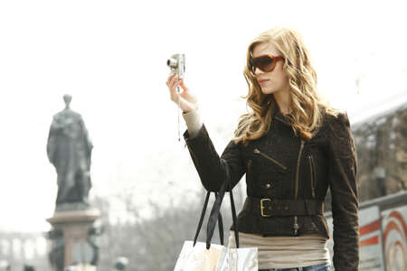 sightseers: Young woman Sightseeing and Shopping