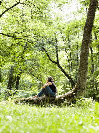whimsy: Woman Sitting In The Woods