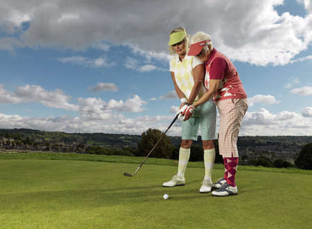 Mature ladies learning to playing golf