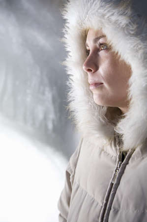musing: Woman Standing by Ice
