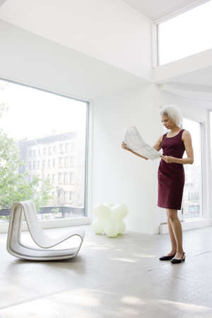 modern living room: Businesswoman reading papers LANG_EVOIMAGES