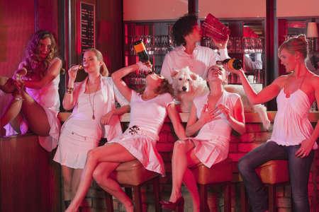 intoxicate: five girls plus barkeeper, having fun