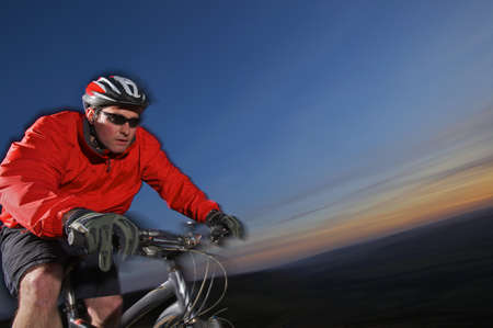 Tight view of a mountain biker.