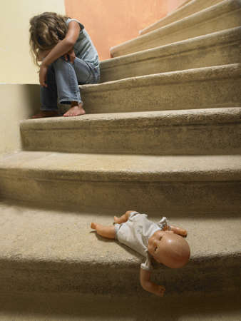 cried: Doll on the stairs,  sad girl