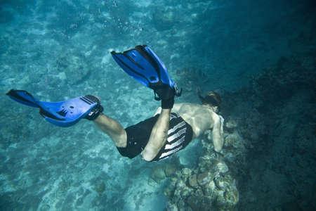 free diver: Man Snorkeling