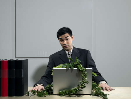 Man by desk beeing attacked by plants LANG_EVOIMAGES