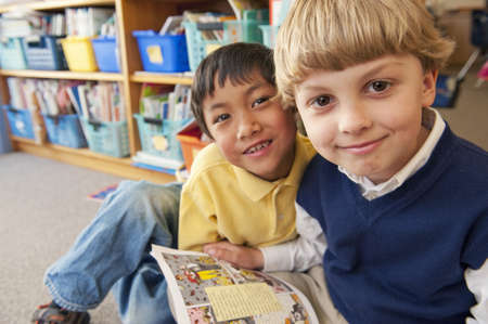 joyous: Students reading book together