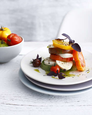 uncomplicated: Plate of heirloom tomatoes and cheese