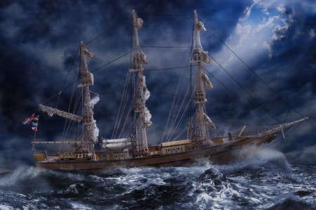 Ornate ship on stormy ocean LANG_EVOIMAGES