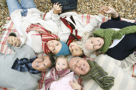 grampa: Top view of Family on Beach LANG_EVOIMAGES