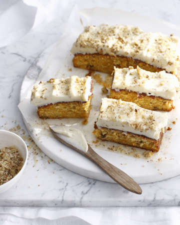 Plate of carrot cake with frosting