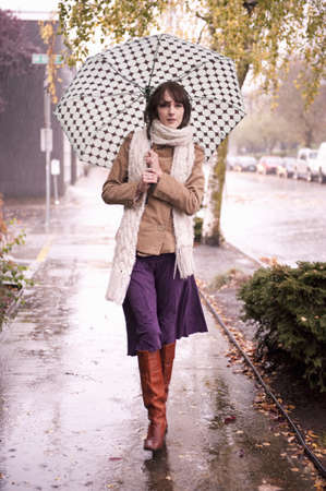 Woman Walking in Rain under Umbrella LANG_EVOIMAGES