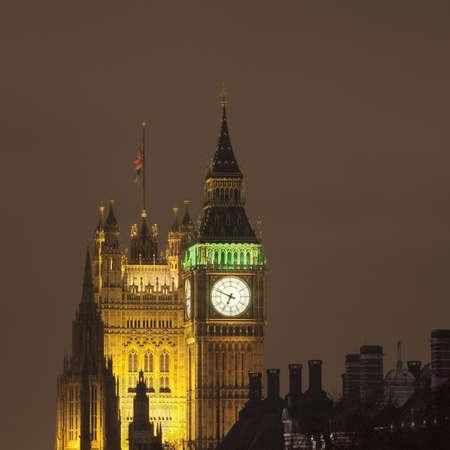 parliaments: Big Ben and Parliament lit up at night