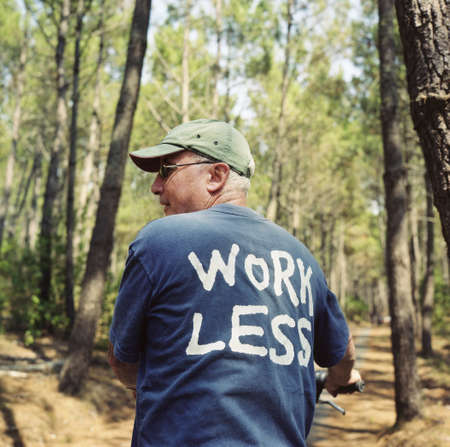 Senior in forest in Work Less T-shirt