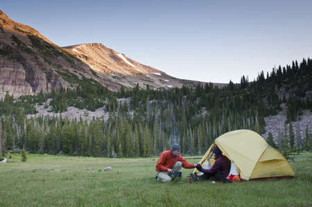 hearted: Hikers camping in rural landscape LANG_EVOIMAGES