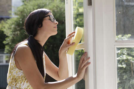 Woman carefully cleaning glass doors