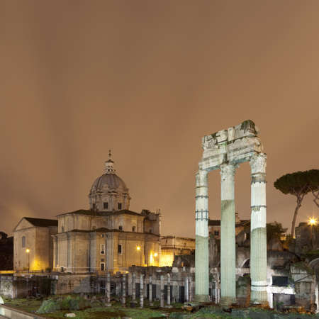 preceded: Roman Forum lit up at night