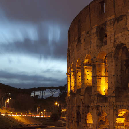 Colosseum in Rome lit up at night