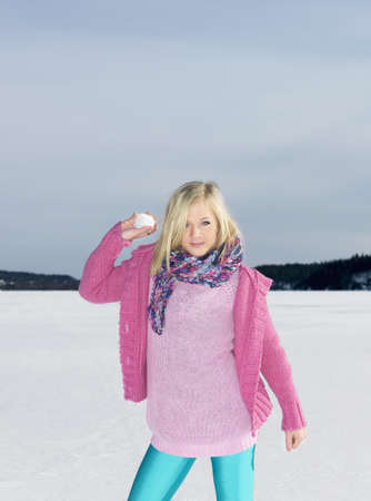mischeif: Girl with snow ball