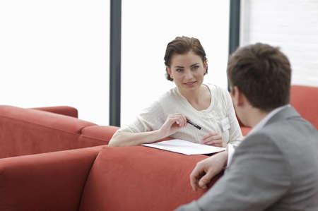 notations: Man and woman talking