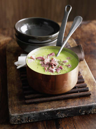 Pot of pea soup with ham