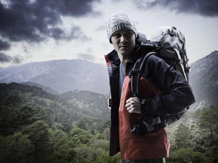 Man hiking in rural landscape