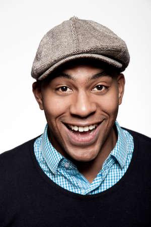 Portrait of man wearing cap,laughing